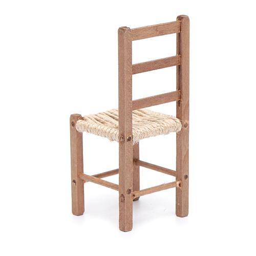 Sedia 11 cm in legno e corda presepe napoletano 3