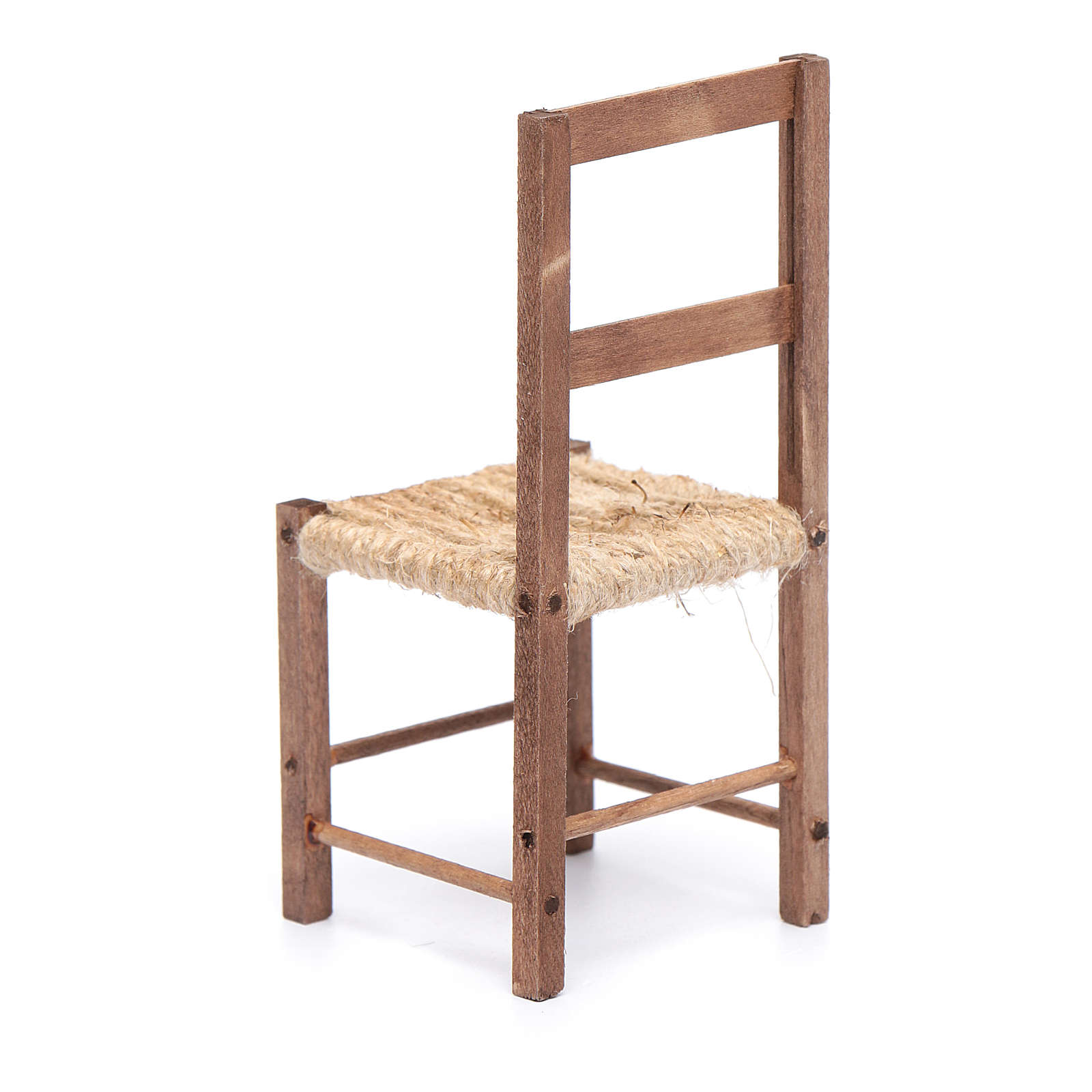 Sedia legno e corda 12 cm presepe napoletano 4