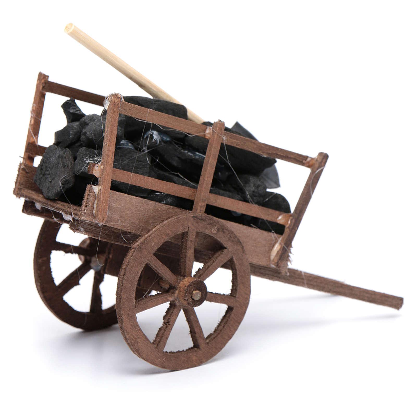 Carro con carbones y pala belén napolitano 4