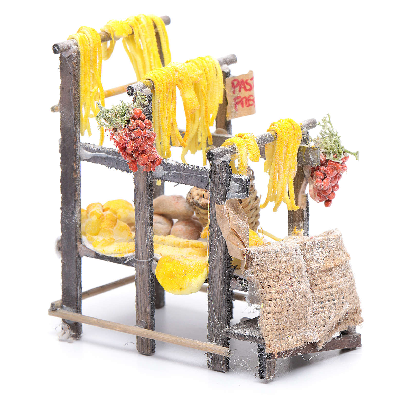 Banchetto con pasta e sacchi presepe napoletano 4