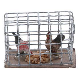 Cage avec poules crèche napolitaine s1