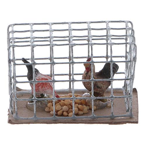 Cage avec poules crèche napolitaine 1