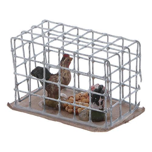 Cage avec poules crèche napolitaine 2