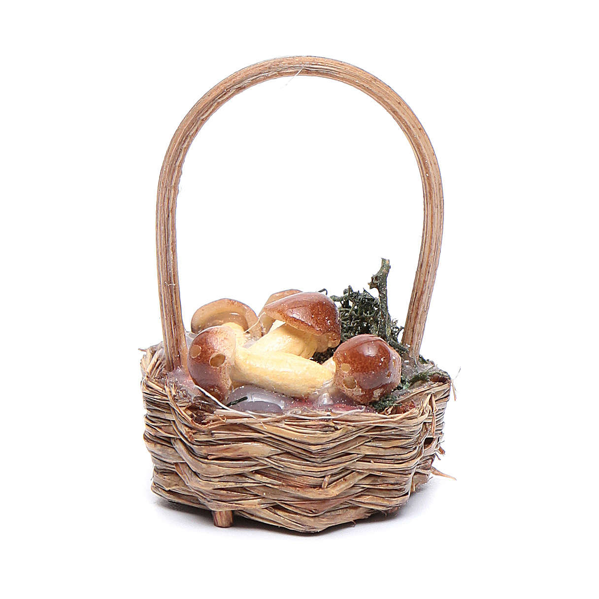 Basket with mushrooms for Neapolitan nativity scene 4