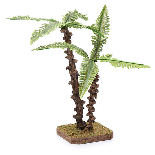 Nativity scene palm with double trunk and green shapeable leaves 2