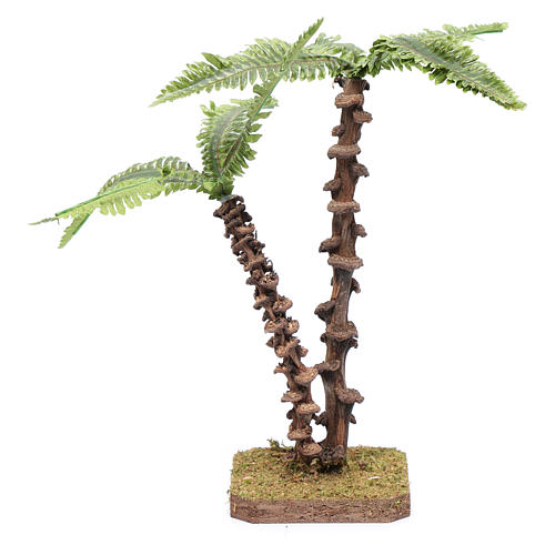 Nativity scene palm with double trunk and green shapeable leaves 3