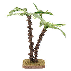 Palma doppia con fusto lavorato e foglie verdi modellabili s1