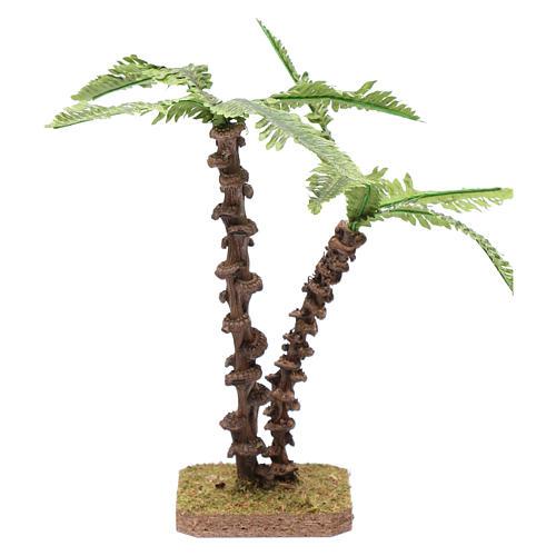 Palma doppia con fusto lavorato e foglie verdi modellabili 1
