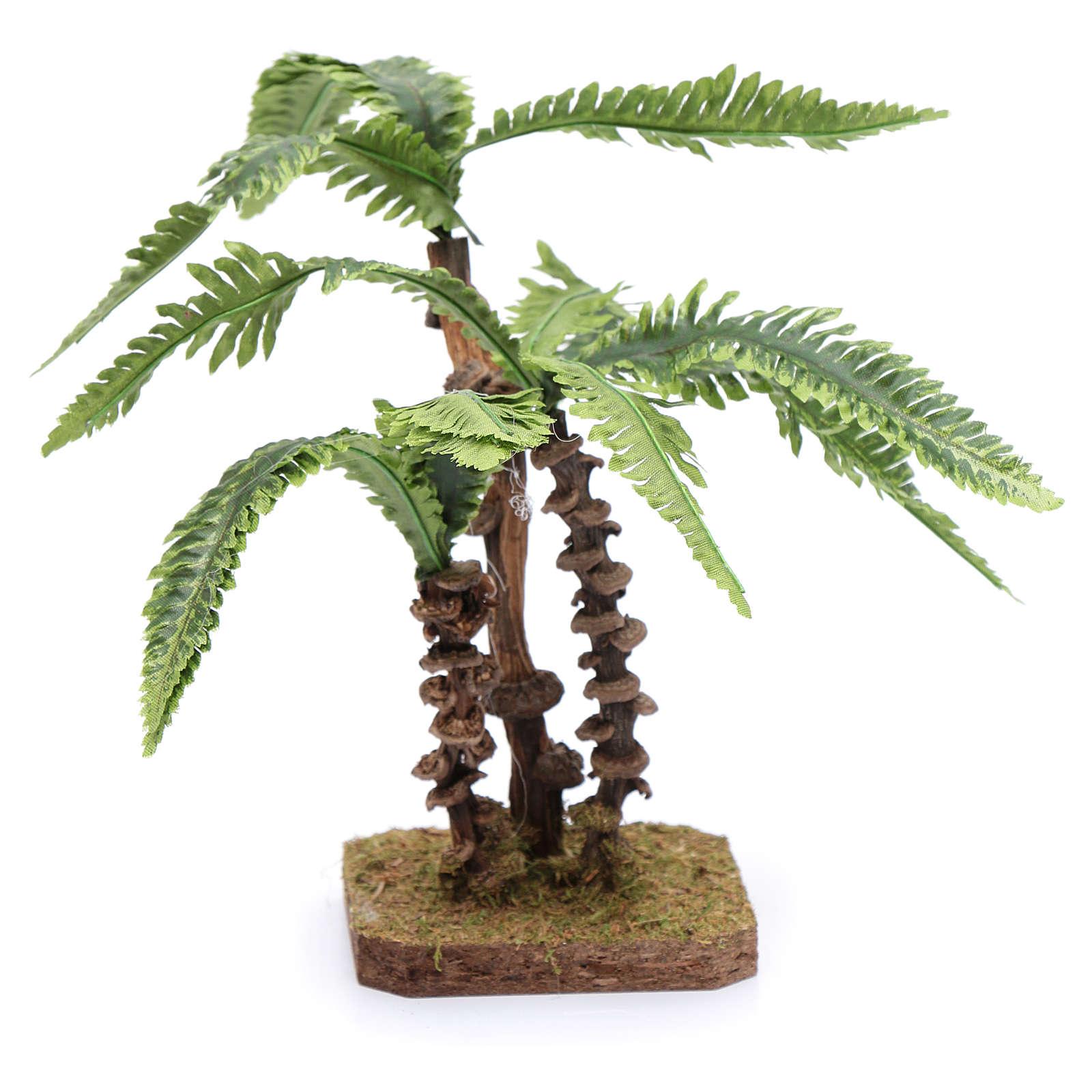 Tres palmas con base única y hojas moldeables accesorio para belén 4