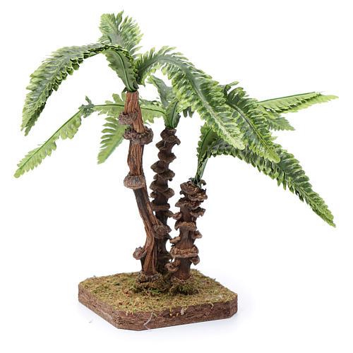 Tres palmas con base única y hojas moldeables accesorio para belén 2