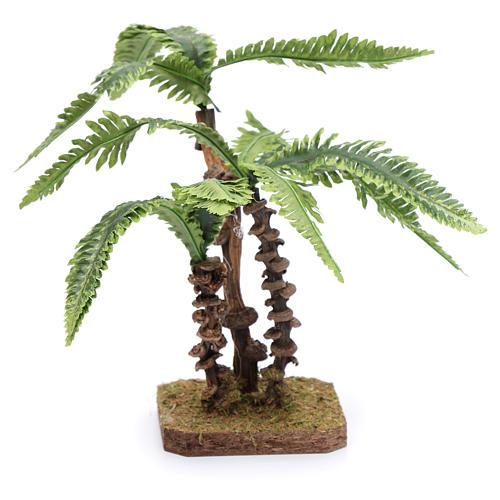 Tres palmas con base única y hojas moldeables accesorio para belén 3
