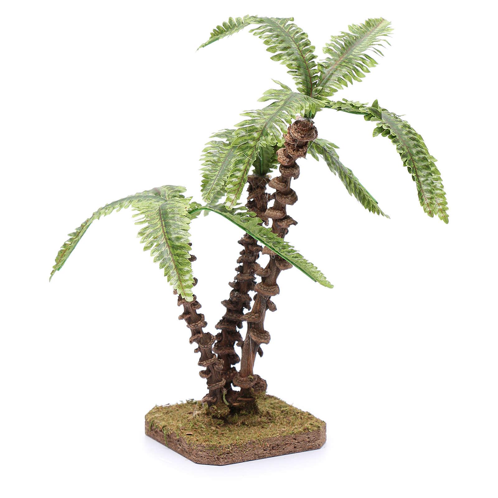 Palma triple con base única - hojas verdes moldeables 4