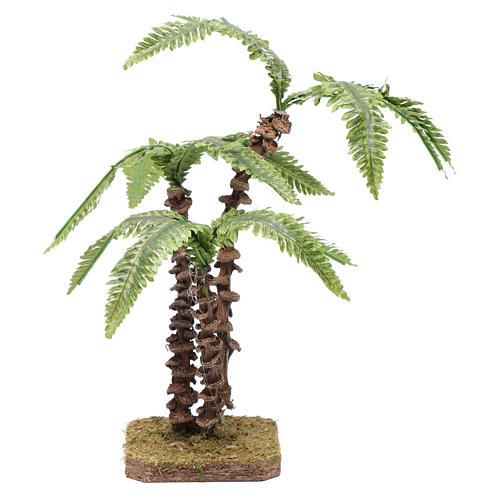 Palma triple con base única - hojas verdes moldeables 1