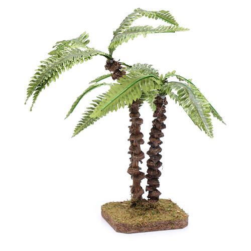 Palma triple con base única - hojas verdes moldeables 3