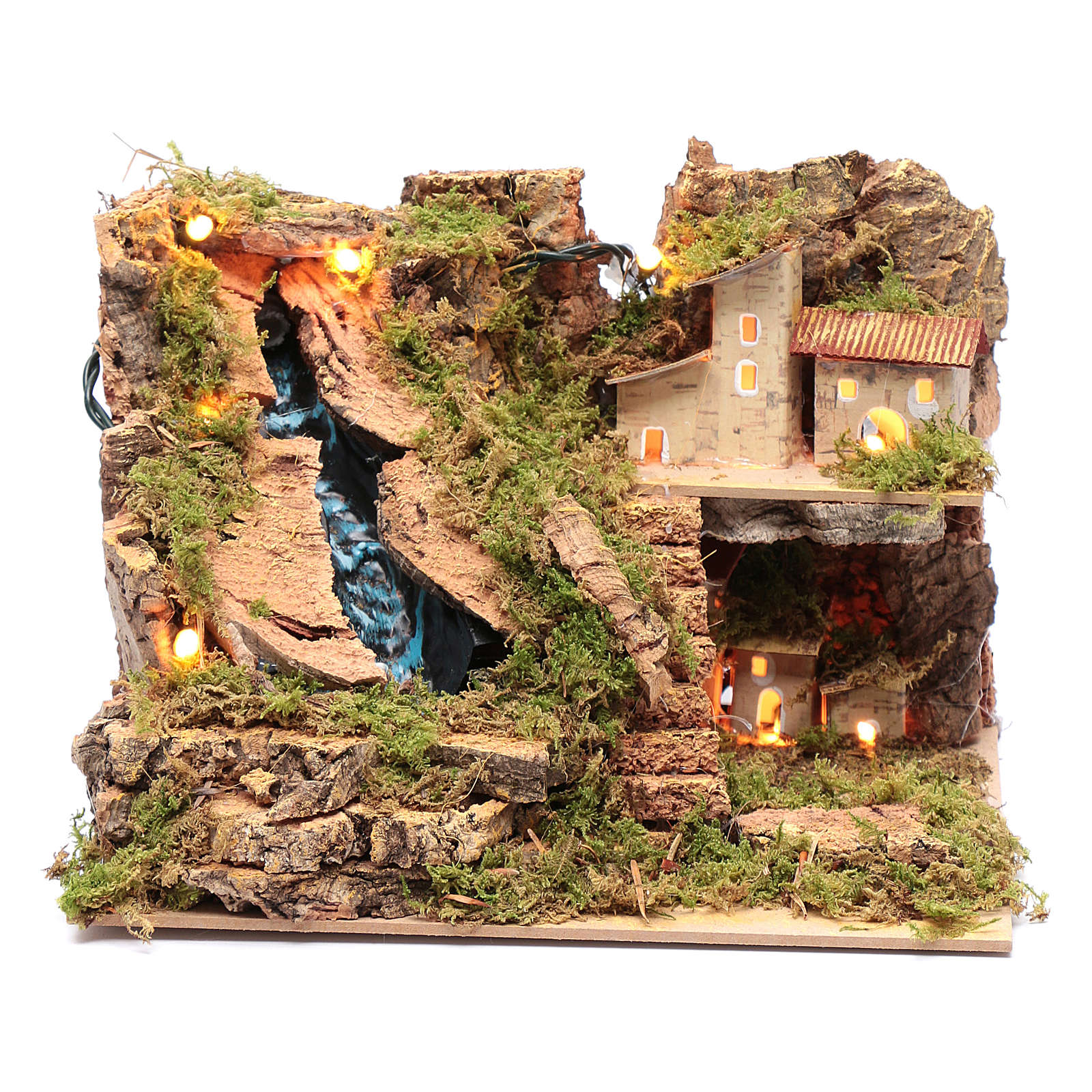 Arroyo accesorio para belén con luces 15x25x20 cm 4