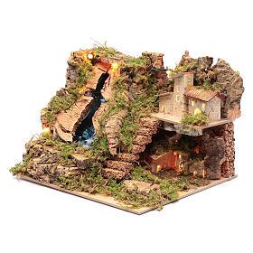 Arroyo accesorio para belén con luces 15x25x20 cm s2