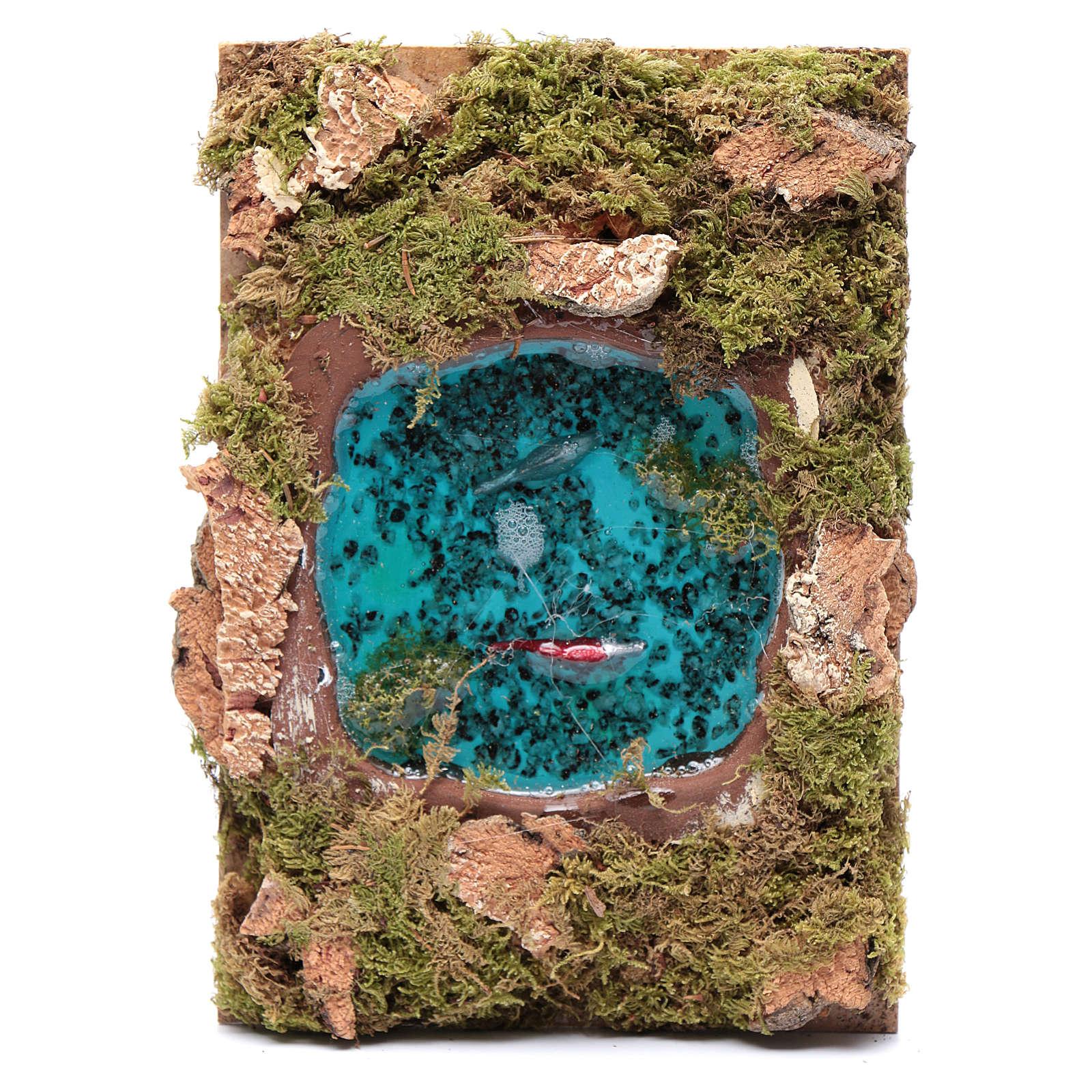Lago con peces efecto agua accesorio belén 5x20x15 cm 4