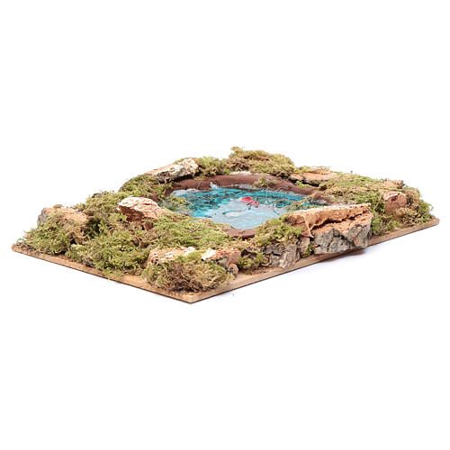 Lago con peces efecto agua accesorio belén 5x20x15 cm 3