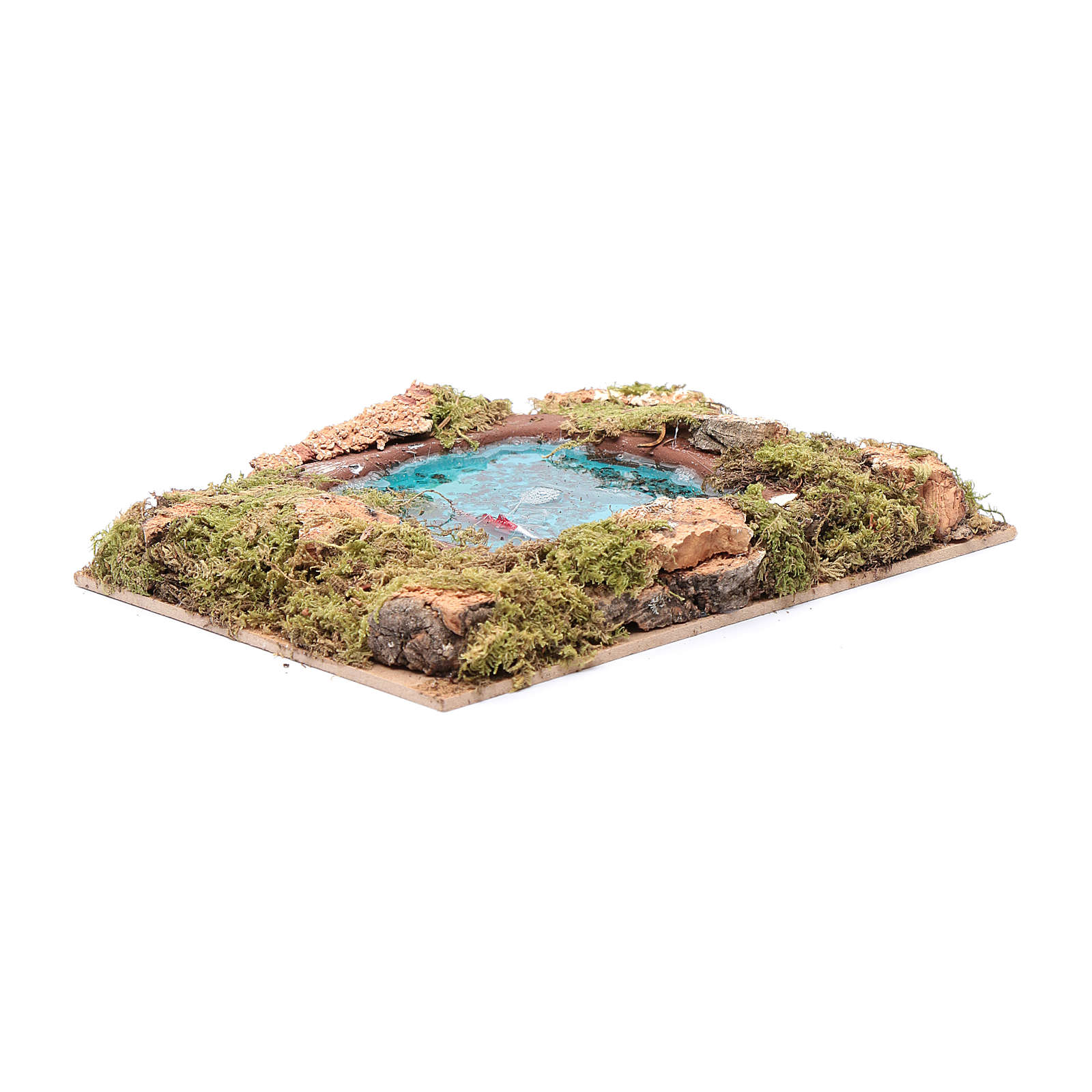 Lago com peixes efeito água acessório presépio 5x20x15 cm 4