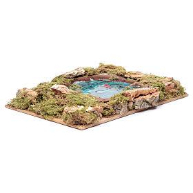 Lago com peixes efeito água acessório presépio 5x20x15 cm s3
