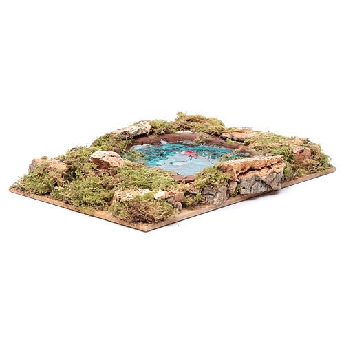 Lago com peixes efeito água acessório presépio 5x20x15 cm 3