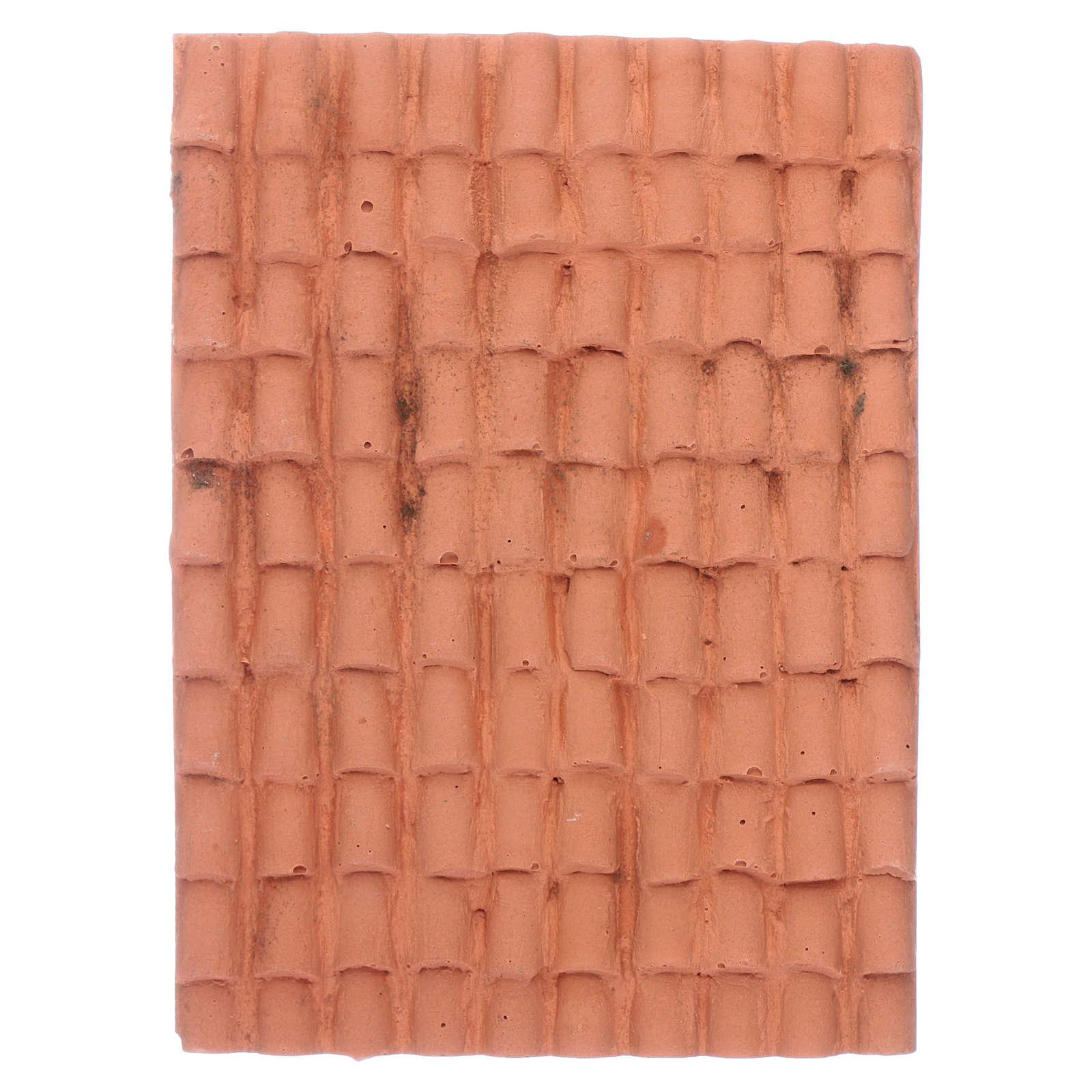 Nativity scene accessory roof with terracotta shingles 10x5 cm 4