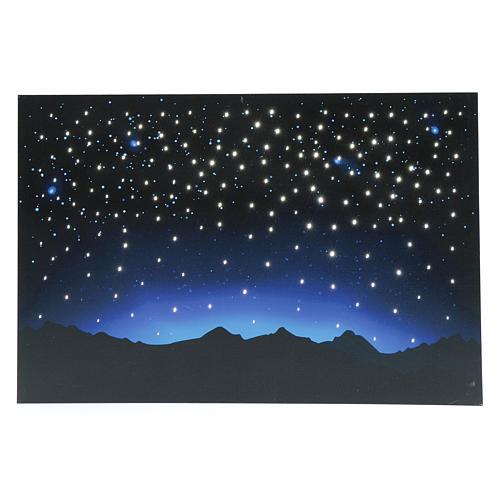 Hintergrund für DIY-Krippe nächtlicher Himmel und Berge mit LED- und Glasfaser-Beleuchtung 40x60 cm 1
