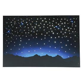 Fonds pour crèche Noel: Ciel lumineux et montagnes avec leds et fibre optique 40x60 cm