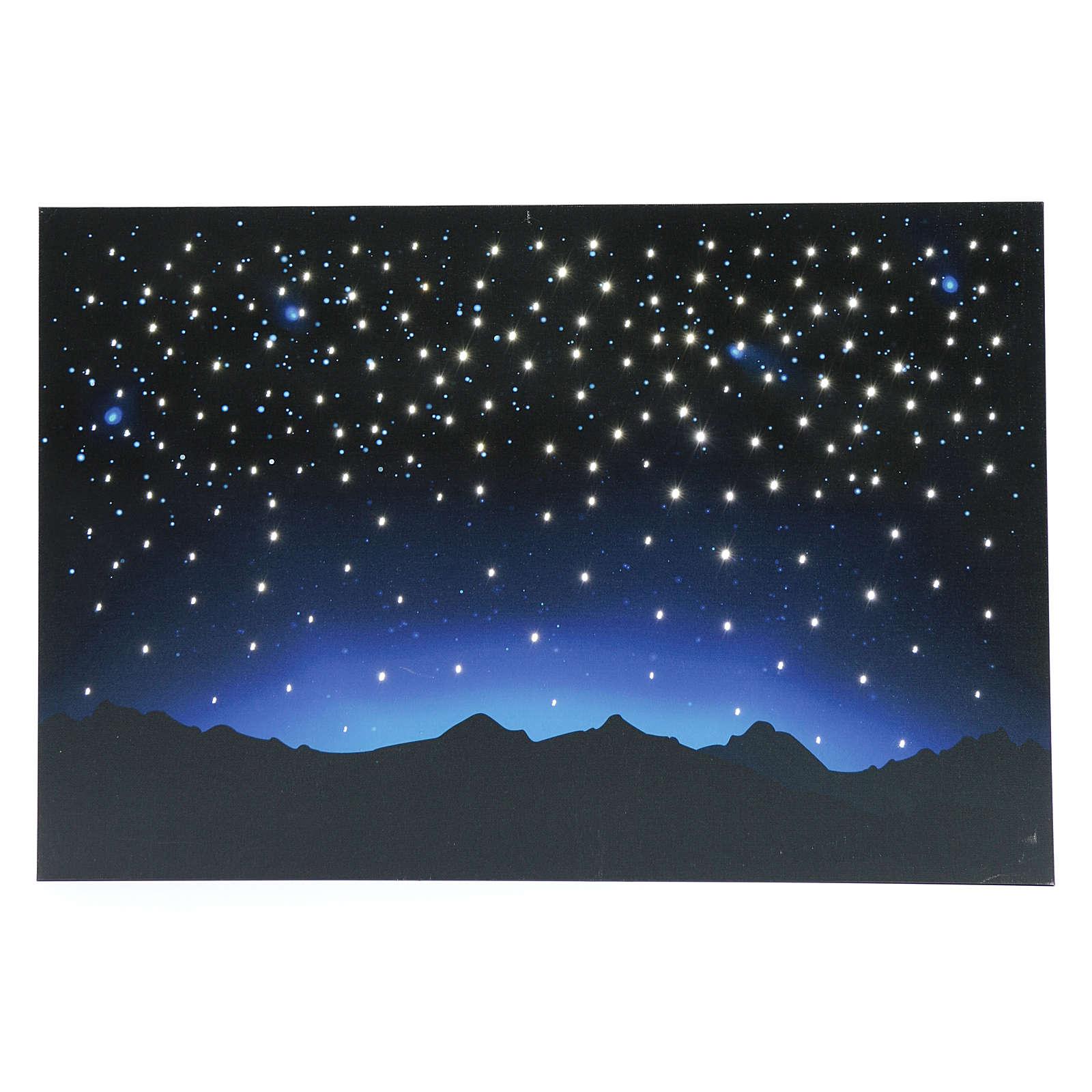 Céu luminoso e montanhas com LED e fibra óptica 40x60 cm 4