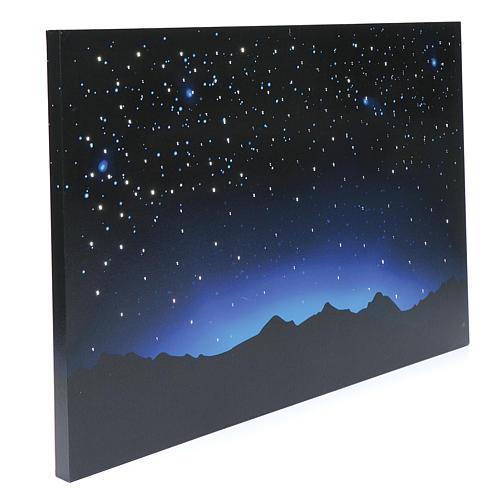 Céu luminoso e montanhas com LED e fibra óptica 40x60 cm 2