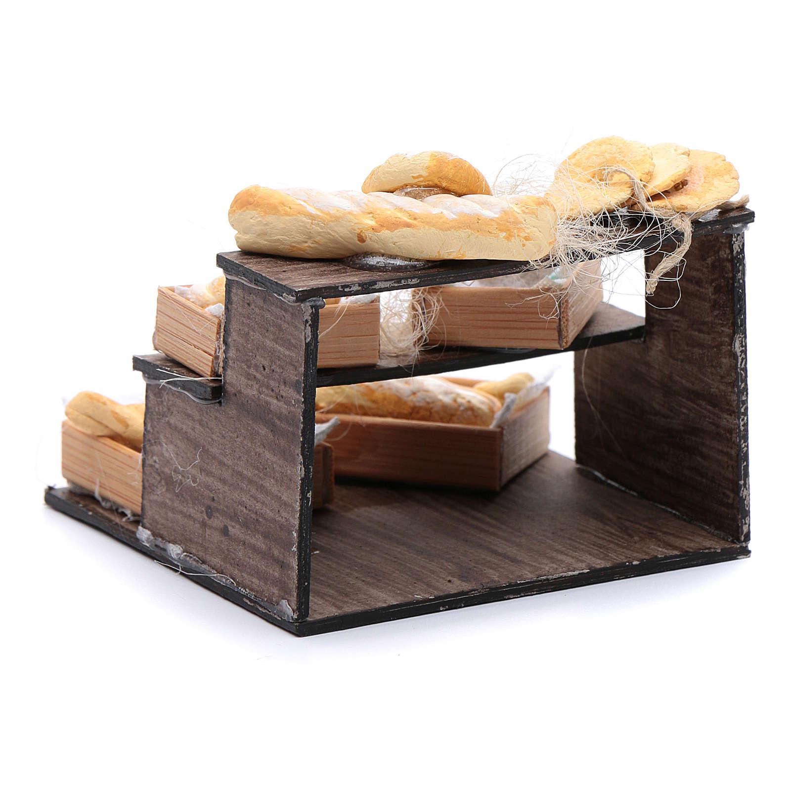 Banco di pane e cesti 5x5x5 cm presepe napoletano 4