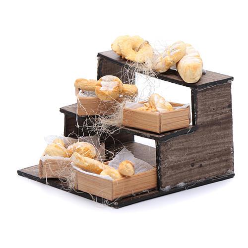 Banco di pane e cesti 5x5x5 cm presepe napoletano 2