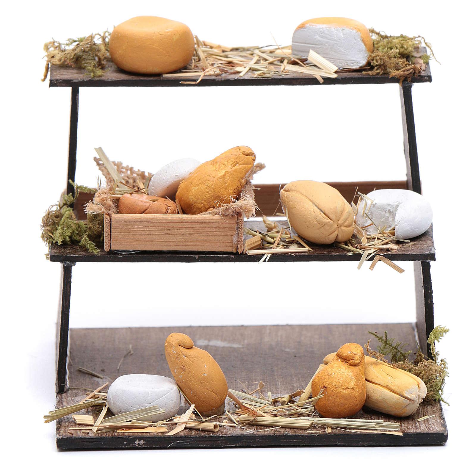 Banco di tre piani con formaggi presepe napoletano 4