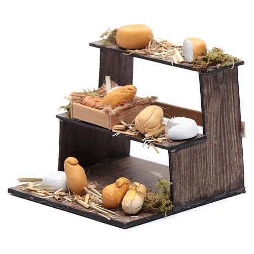 Banco di tre piani con formaggi presepe napoletano 2