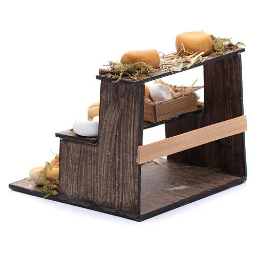 Banco di tre piani con formaggi presepe napoletano 3