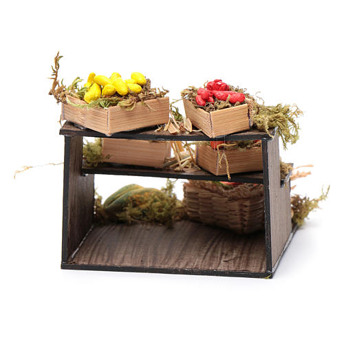 Banco con cesti di frutta - presepe artigianale Napoli 4