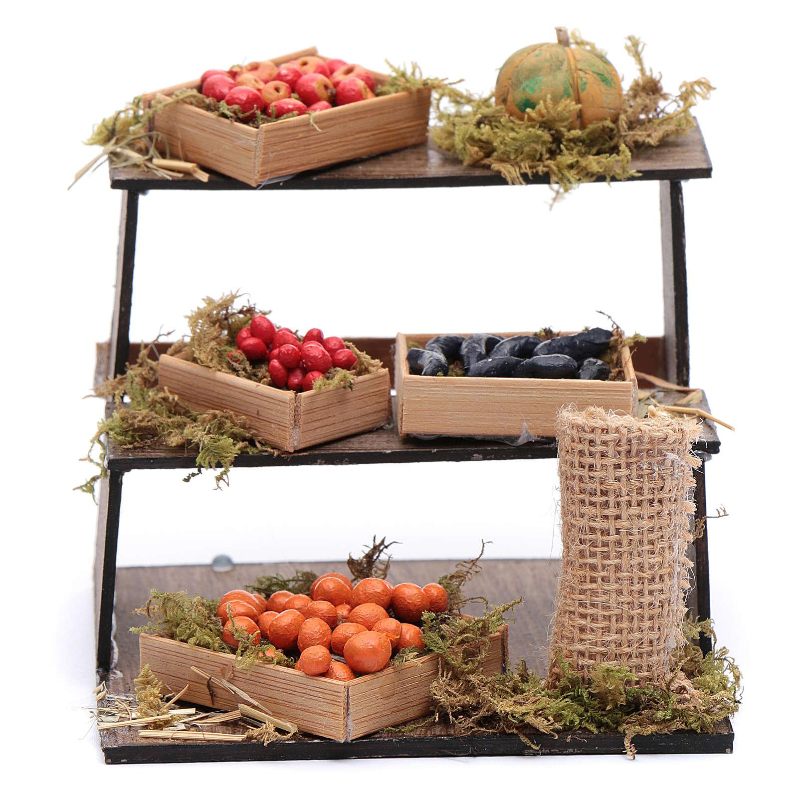 Banco di frutta e verdura 10x10x10 cm presepe napoletano 4