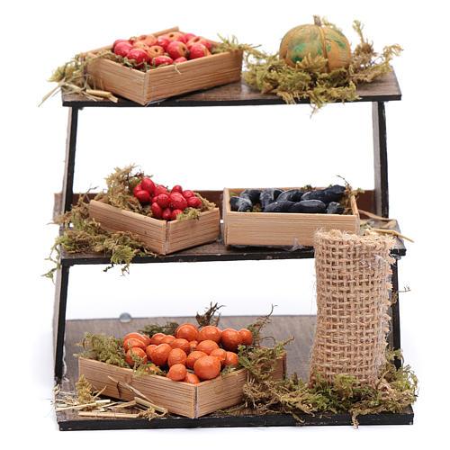 Banco di frutta e verdura 10x10x10 cm presepe napoletano 1