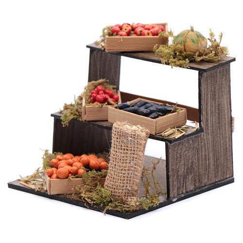 Banco di frutta e verdura 10x10x10 cm presepe napoletano 2