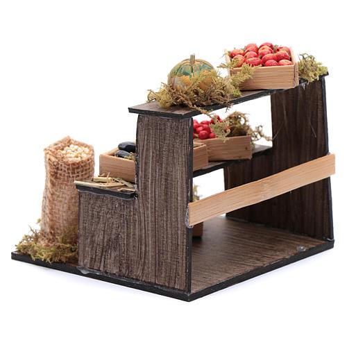 Banco di frutta e verdura 10x10x10 cm presepe napoletano 3