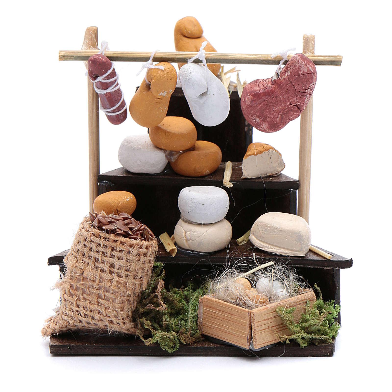 Banchetto di formaggi in miniatura accessori presepe napoletano 4
