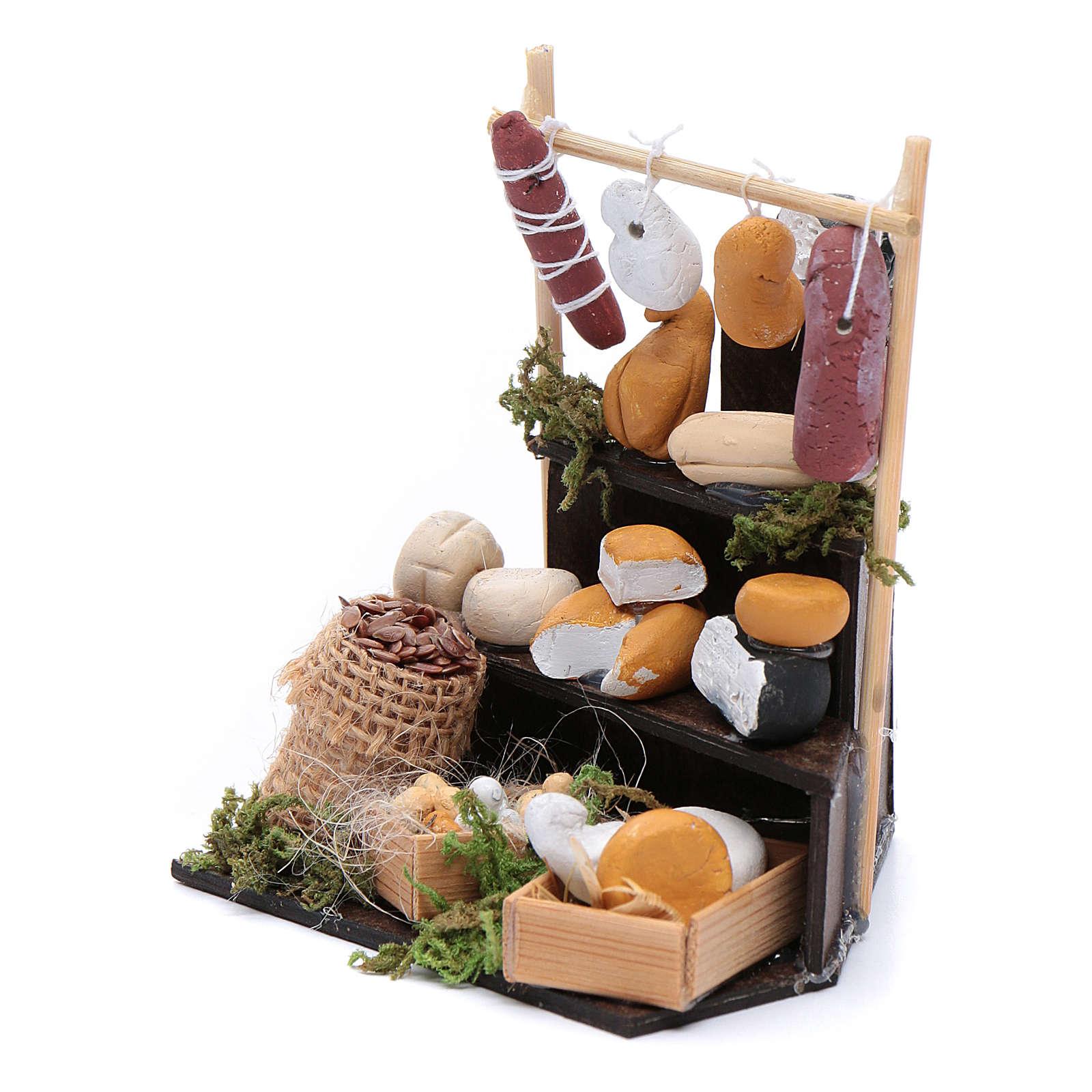 Banco triangolare di formaggi accessori presepe di Napoli 4