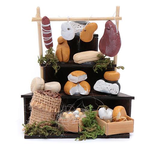 Banco triangolare di formaggi accessori presepe di Napoli 1