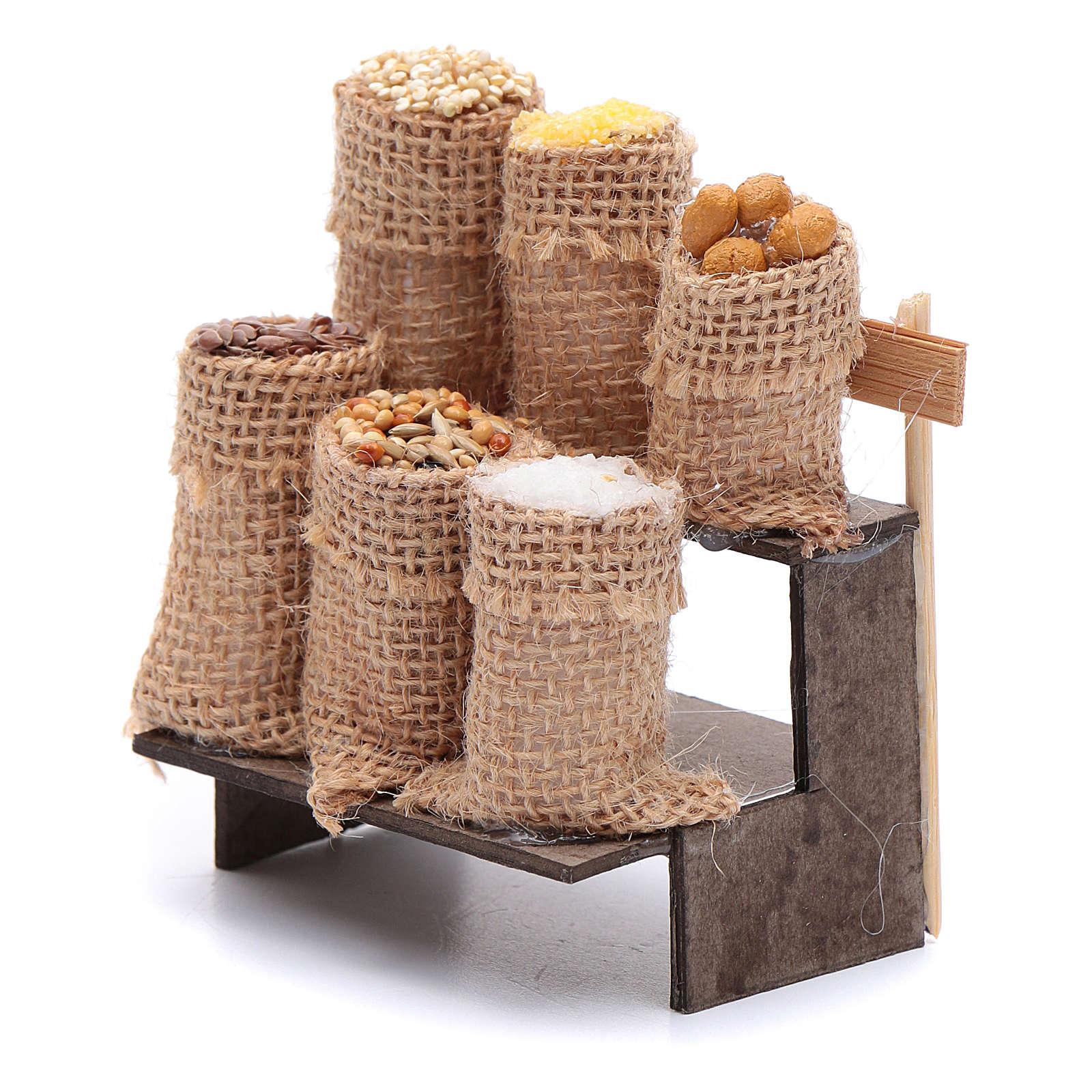 Banco con sacchi di semi 9 cm presepe napoletano 4