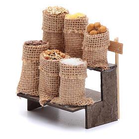 Banco con sacchi di semi 9 cm presepe napoletano s2