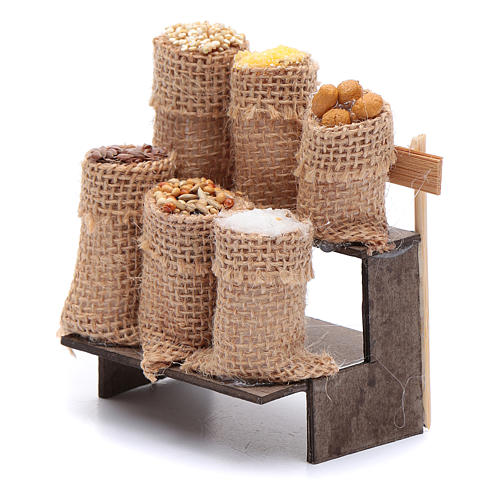 Banco con sacchi di semi 9 cm presepe napoletano 2