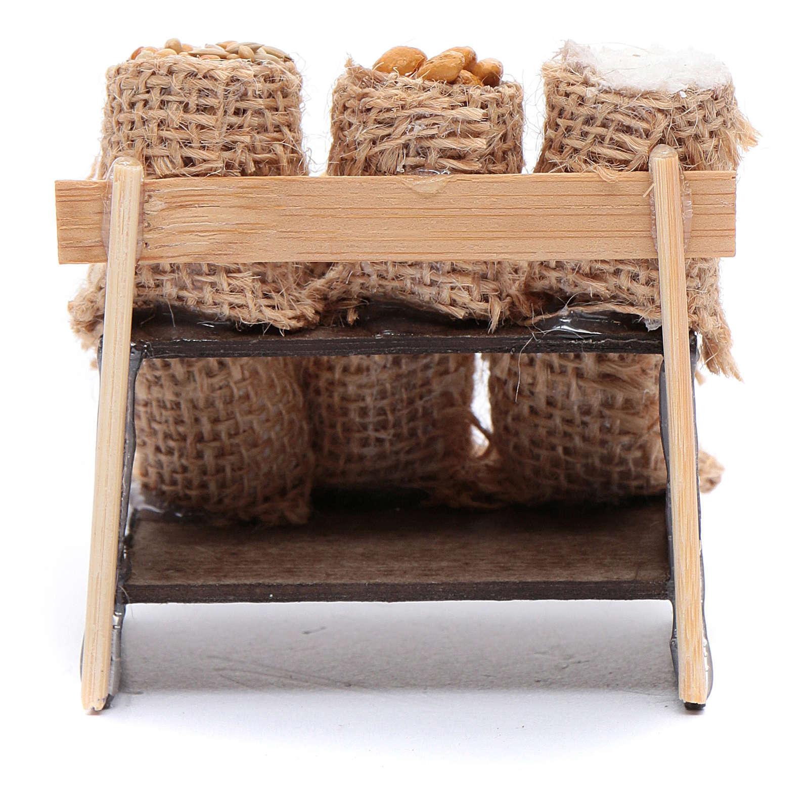 Banchetto con sacchi in juta - accessori presepe napoletano 4