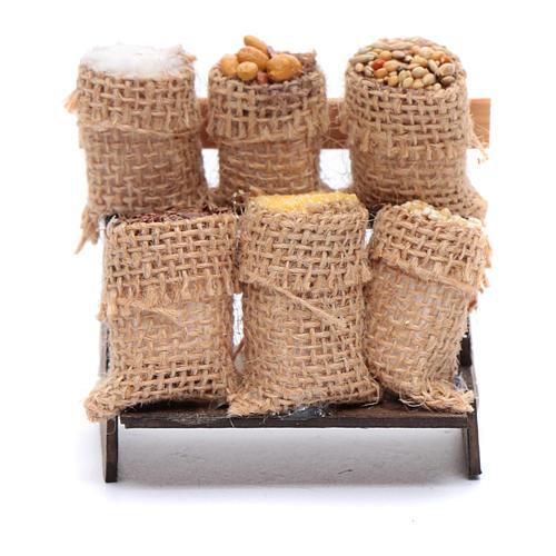 Banchetto con sacchi in juta - accessori presepe napoletano 1