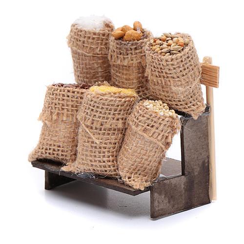 Banchetto con sacchi in juta - accessori presepe napoletano 2