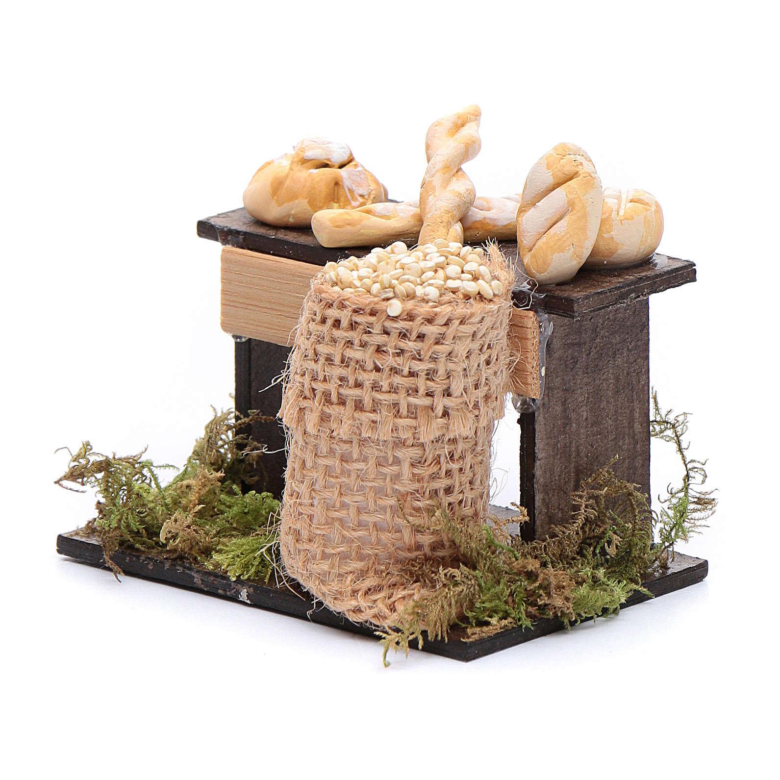 Banco di pane e sacco di legumi 5x5x5 cm presepe napoletano 4